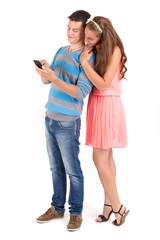 Young boy and girl with a smartphone