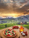 Italian pizza in Chianti, Tuscany landscape, Italy - 55286251