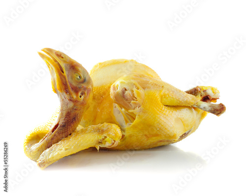 boiled chicken on a white background