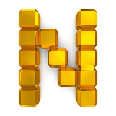 letter N cubic golden