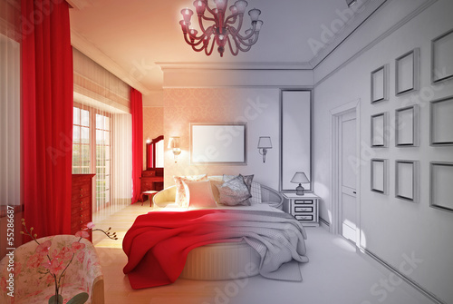 interior Design.	3-D model bedroom in pink