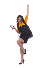 Beautiful teenage girl posing with tablet pc computer
