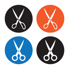 Scissors. Vector icon on white background.