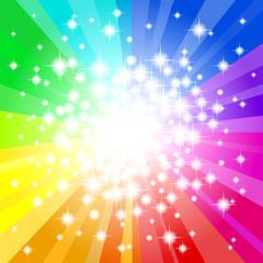 abstrakter regenbogenfarbener Hintergrund mit Sternen