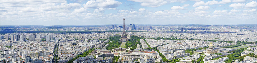areal panorama view of paris