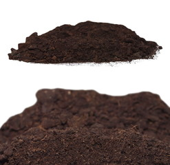 set pile dirt isolated on white background