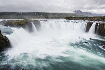 Godafoss Waterfall, Iceland. Slow shutter speed