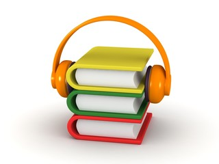 AudioBook Concept - 3D Books and Headphones