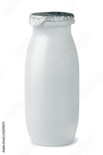Leinwandbild Motiv Small plastic yogurt bottle