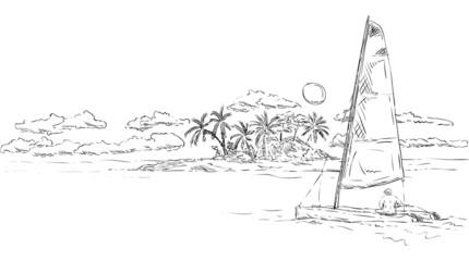 island and catamaran