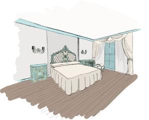 Classic bedroom interior designed in color graphics