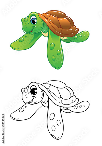 swimming marine turtle coloring
