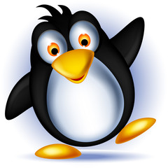 happy little penguin cartoon