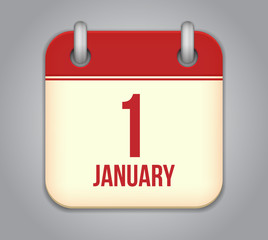 Vector calendar app icon. 1 January