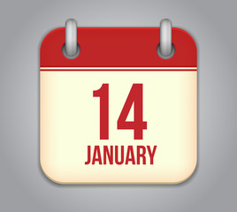 Vector calendar app icon. 14 January