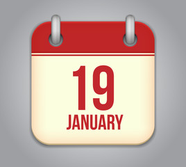 Vector calendar app icon. 19 January