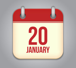 Vector calendar app icon. 20 January