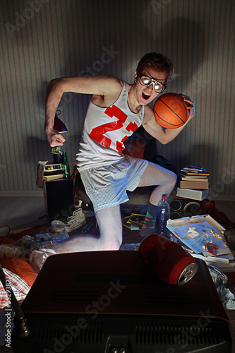 Basketball Fan Watching Television