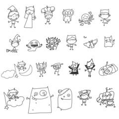 set of vector sketch halloween cartoon