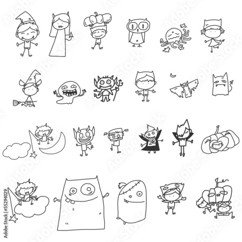 set of vector sketch halloween cartoon