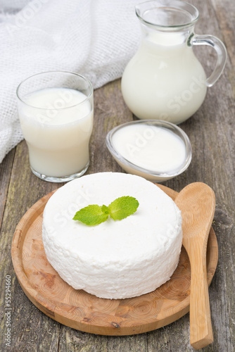 fresh homemade cottage cheese, yogurt and milk
