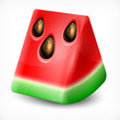Fresh slice of watermelon on white background, vector