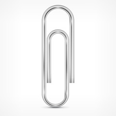 Metallic paperclip isolated on white background, vector