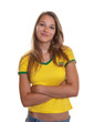 Smiling brazilian football fan with crossed arms