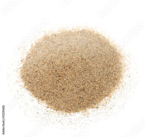 Macro pile desert sand isolated on white background