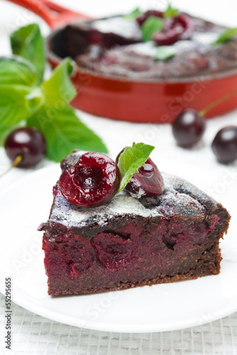 piece of chocolate Clafoutis with cherries