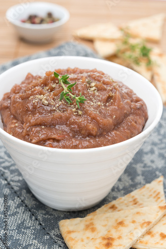 vegetable pate of eggplant and tomatoes, close-up