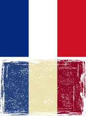 French grunge flag. Vector