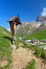Dolomiti - Pordoi pass with crucifix
