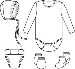 Set of child wear. Vector