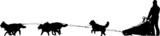 Dog sled silhouette on a white background