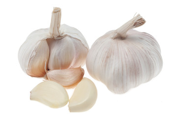 Garlic head and cloves on white background