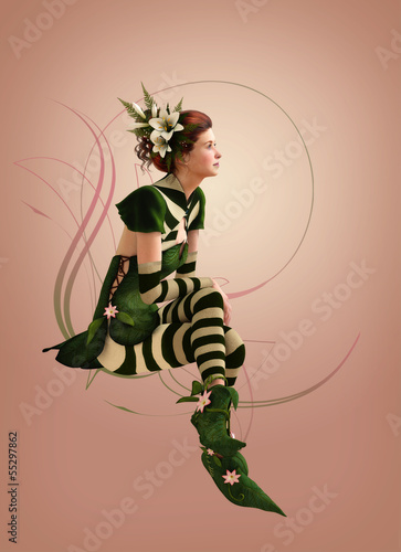 Green striped dressed Girl 3d Computer Graphics