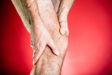 Runner knee pain, leg massage therapy
