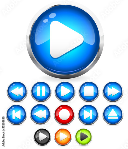 Shiny Audio Player interface, play, stop, rewind, eject, forward