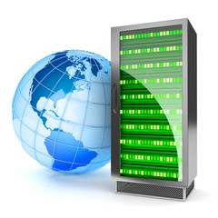 Global hosting. Internet server concept.