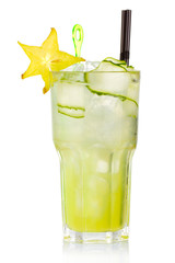 Green alcohol cocktail with carabola and cucumber slices isolate