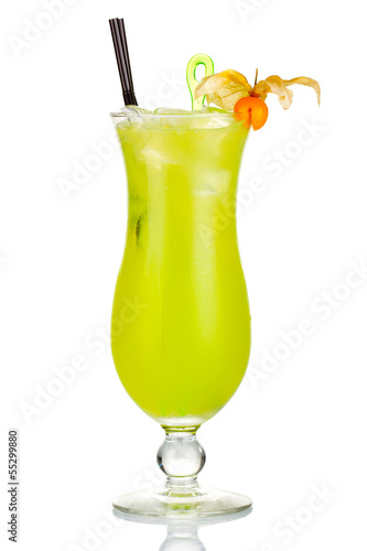 Green alcohol cocktail with Physalis berries isolated