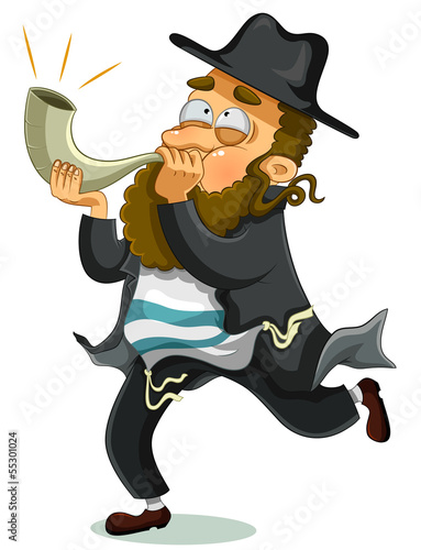 orthodox Jewish man with the traditional Shofar