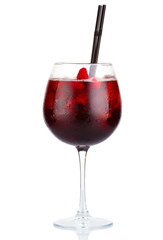 Red alcohol cocktail with red wine and raspberries isolated
