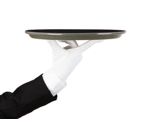 Empty tray in hand waiter isolated on white