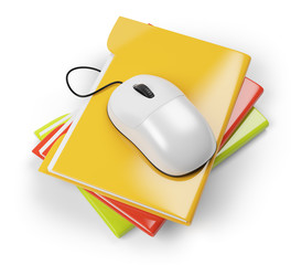 colored folders and computer mouse