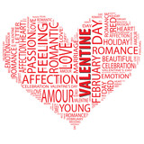 Conceptual love word cloud as heart shape