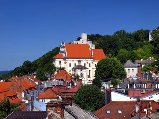 view of the old town of Kazimierz Dolny on the Vistula Rive