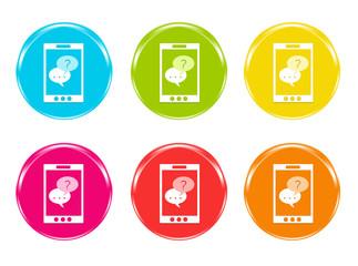 Iconos de colores con teléfono móvil con símbolo de diálogo