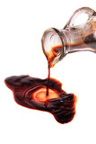 decanter with balsamic vinegar isolated on the white background
